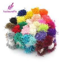 Lucia crafts 900pcs/lot Random Mixed Double Heads DIY Artificial Mini Pearl Flower Stamen Pistil 1mm Floral Stamen 11010106(900)(China)