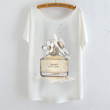 2017 summer t shirt perfume bottle daisy marc harajuku women t shirt Medium quality Loose Batwing sleeve women tees Brand tops