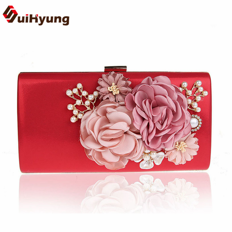 2017 New Women PU Handbags Diamond Pearls Party Evening Bags Small Purse Female Wedding Beaded Flowers Day Clutch Shoulder Bags<br><br>Aliexpress
