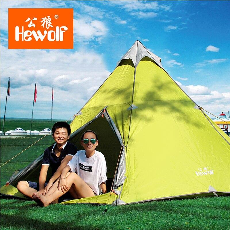 Hewolf 6-8 people aluminum pole anti rainstorm silvering sunscreen PU3000 outdoor camping tent<br><br>Aliexpress