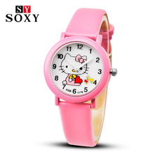 2017 Hello Kitty Cartoon Watches Kid Girls Leather Straps Wristwatch Children Hellokitty Quartz Watch Montre Enfant(China)