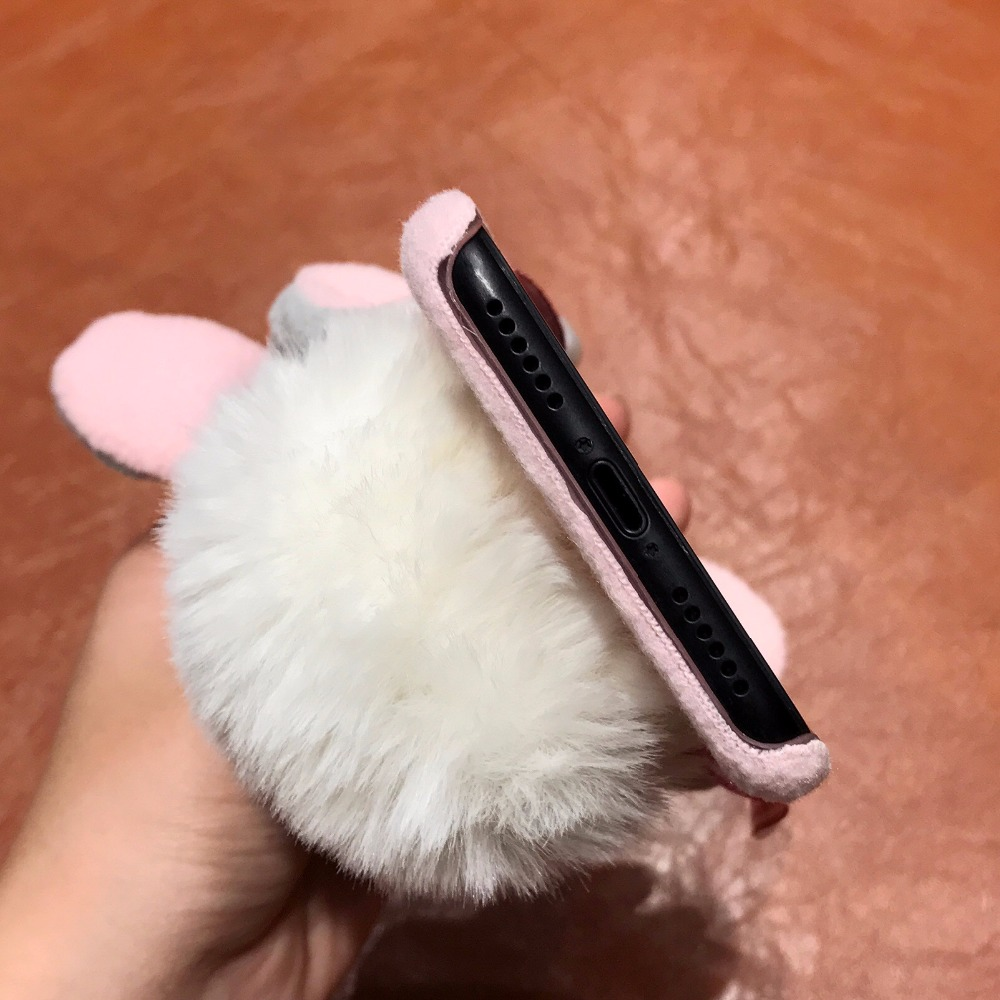 4DOEES Luxury Warm Cute Case For iPhone 7 7 Plus 6 6S Plus X Phone Cases Plastic Winter Furry Rabbit Hat Cover For iPhone X Coque (10)