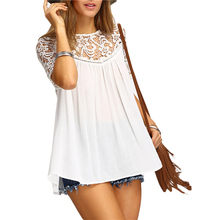 Buy 2017 Summer Women Clothing Summer New Feminine Lace Shirt Round Neck Short Sleeve Chiffon Blouse Female Tops Shirt Drop for $5.99 in AliExpress store