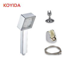 KOYIDA LED Shower head hand held square 7 color changing showerhead water saving temperature control 3 color ducha led chuveiro(China)