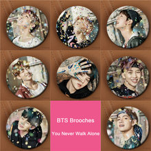 Youpop BTS Bangtan Boys WINGS Album YOU NEVER WALK ALONE Brooch Pin Badge Accessories For Clothes Hat Backpack Decoration XZ1186(China)