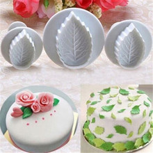 3Pcs/set Cake Rose Leaf Plunger Fondant Decorating Sugar Craft Mold Cutter Tools