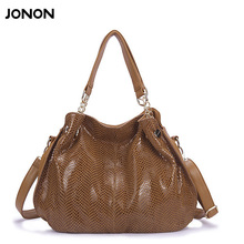 Jonon Leather Handbags Women's Snake Bag Famous Brands Fashion purse high quality women messenger bags tote bag(China)