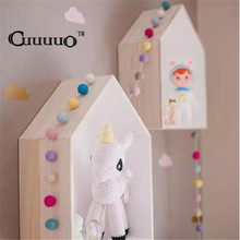 2pcs/Lot INS Nordic Style Wall Hanging Decor Wooden House Key Box Restoring Creative Shelf For Children Kid's Bed Room Ornaments(China)