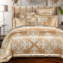 4/6Pcs Luxury European Style Jacquard Golden Bedding set King Queen size Bed set Wedding Duvet cover set Bedsheet Pillowcases