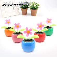 Vehemo Hot Solar Powered Flip Flap leaves Flower Flowerpot For Car Ornament Swing automatic Flower Toy Gift Colorful