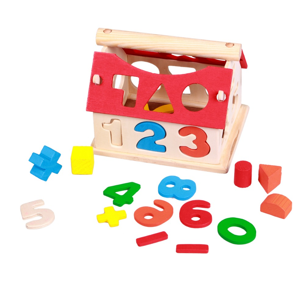 Kids Wooden Toys Colorful Cartoon Number Mathematics House Shape Puzzle Educational Intellectual Development Kids Toys HT2906(China (Mainland))