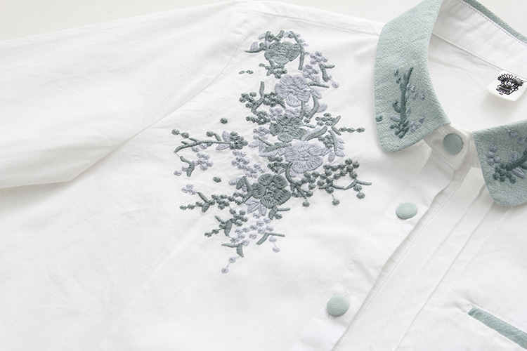 Floral Embroidery White Blouse 17