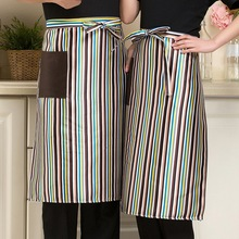 1Pcs Unisex Kitchen Cooking Hotel Chef Aprons Uniforms Multi-color Stripes Restaurant Waiter Aprons with Pockets(China)