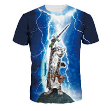 2017 New Arrivals 3D Printed Thunder Cat T-Shirt Fearless Cat Playing with Lightning T Shirts