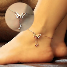2016 New cheap animal Beach anklets Womens anklet, Butterfly with crystal tassel barefoot sandals Foot Jewelry bracelet Chains(China)