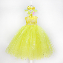 toddler girl clothing  baby girls party light yellow princess flower dress summer style kids clothes vestidos infantistutu