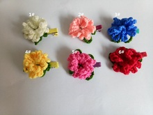 30pcs DIY Crochet flowers hairclip Headband Babys Girls Kids clips  Knitting wool flower Children Hair  Accessories