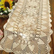 Handmade Crochet Flowers Hollow Beige Table Cloth Cotton Knit Lace Tablecloths American Table Runner