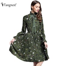 TANGNEST Women Printed Pleated Dress 2017 Spring Summer European Countryside Elegant Bowtie Dress Chiffon Vestidos WQL5367