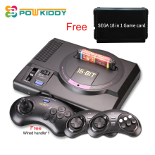 Hot hd Video Game Console sega mega drive game consol Genesis 18 in 1 free games cartridge with 2.4G wireless controller(China)
