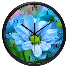 European Beautiful Flower in the rain Wall Clock, Non Ticking Sound Outdoor Scene Quality Clock
