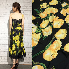 soft yellow tulips printed silk stretch satin fabric,women evening dress imitate silk satin fabric, polyester satin fabric tissu(China)