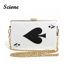 2016 Fashion Printing Poker Women Evening Clutch Bags Famous Brand Designer Gold Chain Shoulder Handbags Mini acrylic bags