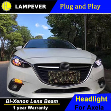HLC Car Styling for 2014-2016 Mazda 3 Axela LED Headlights Mazda 3 Axela LED Lens Double Beam H7 HID Xenon bi xenon lens(China)