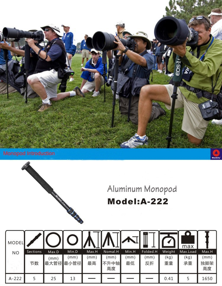 Free-Shipping-Manbily-New-A-222-Aluminum-Monopod-Portable-Standard-For-Travelling-5-Section-Tube-Light (3)