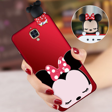 OnePlus3T Cute Mickey Minnie Mouse 3D phone Cases For OnePlus 3 A3000 1+3T One Plus 3T Cartoon soft silicon back cover +Strap