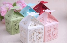wedding favor candy box -- Elegant Chinese Xi favor Boxes Butterfly Paper sweet Boxes Asian theme candy bag 300pcs/lot(China)