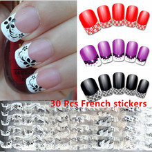 30 Pcs French Tip Nail Art Sticker 3d Diamond Art Nail Designs Nail Care Crystals Stickers Manicure Kit Nail Seal Wraps(China)