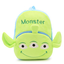 26*32*9.5cm Kindergarten Kids Plush Cartoon Backpacks Green Monster 3 Eyes Animal School Bags for 1-5 Years Old Girls Boys Gifts(China)