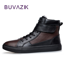 2017 new arrive cow leather casual men's shoes warm comfortable winter genuine leather short plush warm basic shoes
