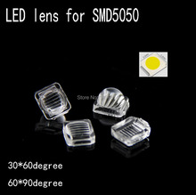 100pcs LED 5050 lens streak high quality PMMA 7.6*7.6mm convex optical lens Reflector Collimator 30*60 60*90degree led lens