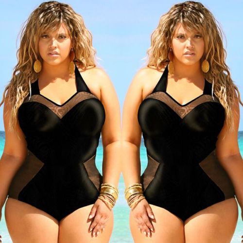 2017 Black Plus Size Swimwear Sexy Bodysuit One Piece Swimsuit women Large size swimmingsuits Bathing Suit bodysuit Monokini <br>