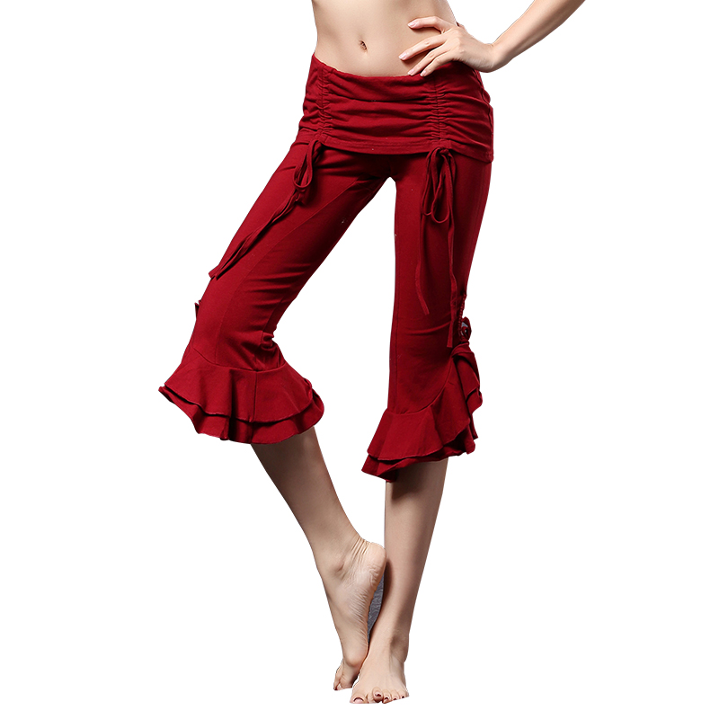 Tribal Fusion Capri Pants Women Dance Wear Cropped Trousers Scalloped Edges Tribal Belly Dance Pants Cropped Trousers