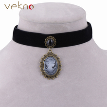 Vintage Cameo Necklace Gothic Jewelry Collar Style Black Ribbon Choker Necklace Antique Princess Queen Pendants For Women Girls