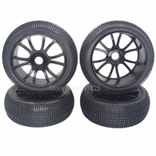 Buy 4pcs 115mm RC 1/8 Off-Road Buggy Tires & Wheels Rim 17mm Hub HSP HPI Redcat Racing Model Car for $14.90 in AliExpress store