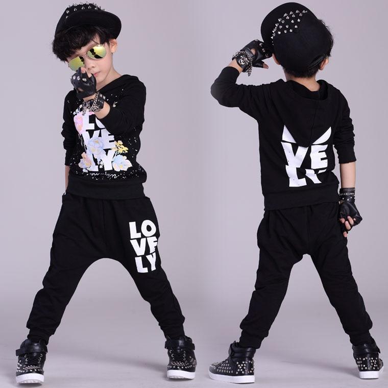 2016 Kids clothing set spring Autumn Flower kids  suits Love Black Hip Hop harem pants &amp; Hooded sweatshirt twinset<br>