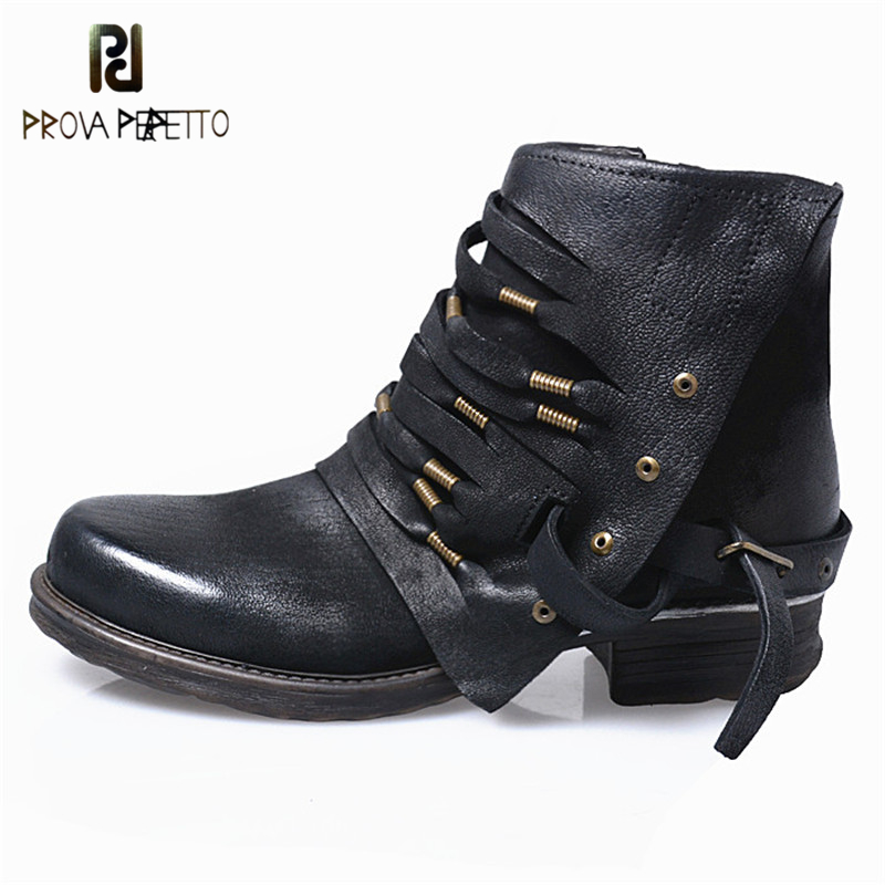 Prova Perfetto Winter Motorcycle Boots Vintage Knight Boots Genuine Leather Pleated Woman Shoes British Style Ankle Martin Boot
