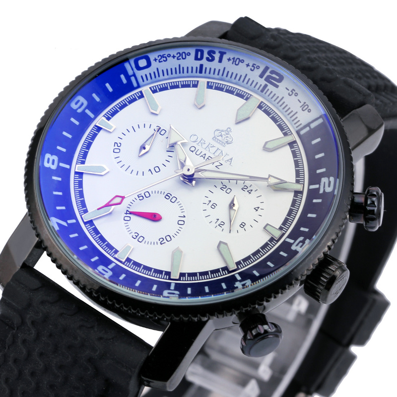 ORKINA THIN Mens Sport Militay Quartz Watch Black Rubber Band with Multifunciton Chronograph Sub-dial High-end BOXED Wristwatch<br><br>Aliexpress