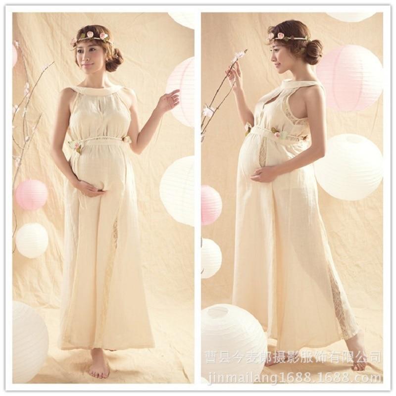 Royal Style Summer White Chiffon Maternity Pregnant Women Photography Props Dresses Fancy Pregnancy Photo Shooting Long Dress<br>