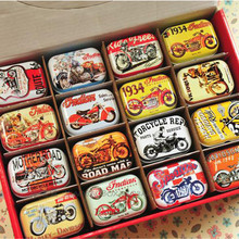 Personalized Christmas Gifts Toys for Boys Small Macaron Motorcycle Pattern Tea Cookies Storage Box Candy Metal Tin Box 029-3(China)