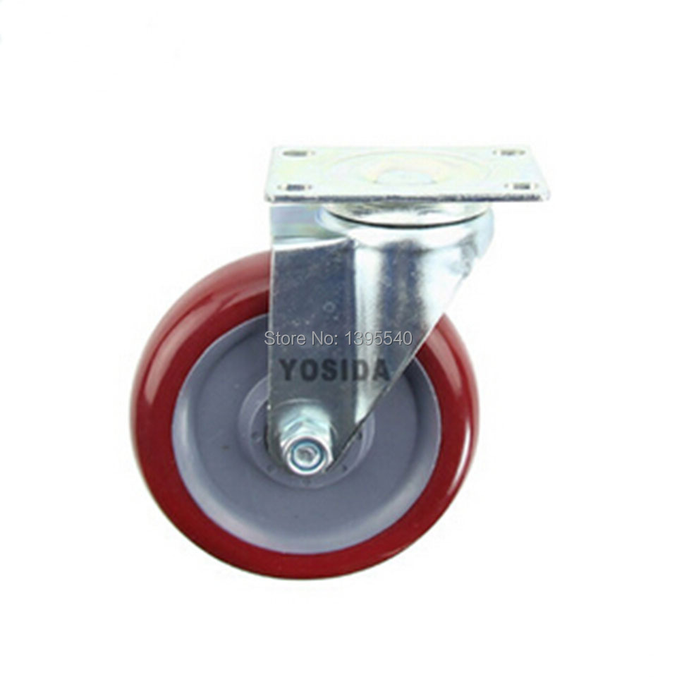 New  5 Swivel Wheels Caster Industrial Castor Univeral Wheel PU 360 Degree Rolling Heavy Casters Double Bearing Wheel<br>