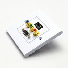 White High quality multiple port HDMI VGA 3RCA AV Wall Plate Composite Video Audio Adapter Jack Outlet HDTV 1080p EB10275