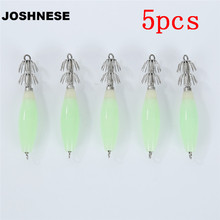 JOSHNESE 5pcs/lot Fluorescent Luminous Squid Hook Fishing Lures Squid Bait Jig Lures With Hooks 9.5cm /14g