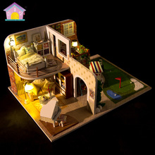 X002 Miniatura Wooden Doll House Furniture Dollhouse Miniature Puzzle Toy villa model Kits Toys Gift