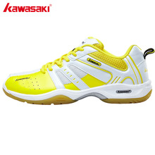 KAWASAKI Yellow Lace-Up Badminton Shoes for Men Professional Anti-Slippery Breathable Athlete Indoor Court Sports Shoe(China)