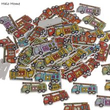 Best Quality Scrapbook Decorative Promotions Wood Buttons Fire Truck Sewing 50 Pcs Handmade Card Making DIY 32x19mm